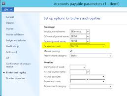Expense Brokerage by Ap Parameter Brokerage Expense Account Microsoft Dynamics Ax