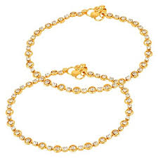 diamond studded charms diamond studded gold anklet for women in