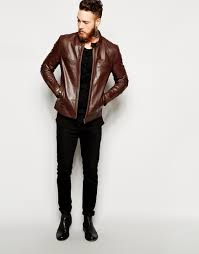 mens brown leather biker boots asos leather racing biker jacket in brown for men lyst
