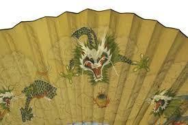 oriental fan wall hanging huge vintage japanese hand painted silk wall fan vintage dragon art