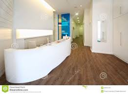 lit reception area in dental clinic royalty free stock photo