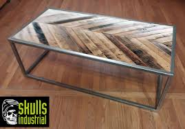 steel and wood table steel and wood pattern coffee table skulls industrial