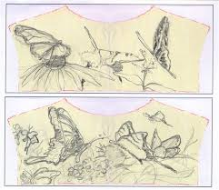 butterfly sketches for embroidered jean jacket chris carter artist