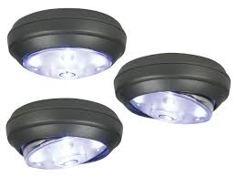rite lite 3 pack gray battery powered cordless led lights puck