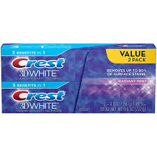 toothpaste whitening crest 3d white radiant mint whitening toothpaste choose count and