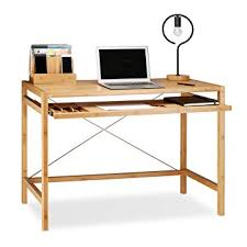 bureau en bambou relaxdays bureau informatique table ordinateur en bambou moderne