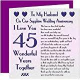 my husband 45th wedding anniversary gift set card keyring