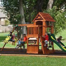 Kids Backyard Play Set by Cedar Wooden Swing Set Backyard Discovery Atlantis Playground Play