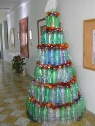 christmas decoration made out of recycled plastic bottles