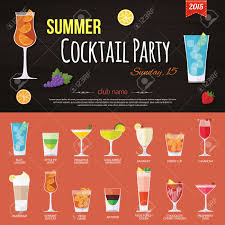 summer cocktail party invitation and set of alcohol cocktails