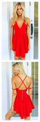 a line red v neck straps mini homecoming dress party dresses prom