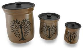 brown kitchen canister sets crackled finish brown olive tree porcelain canisters 3 set