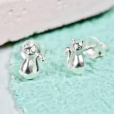 cat stud earrings sterling silver cat stud earrings by angel