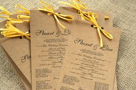 where to get wedding programs printed rustic kraft paper wedding programs with yellow raffia sofia