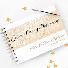 personalised golden wedding anniversary guestbook by amanda