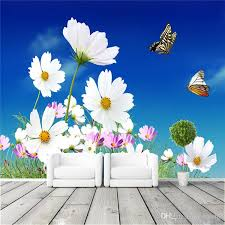 Daisy And Butterfly Photo Wallpaper Elegant Wall Mural Background - Butterfly kids room