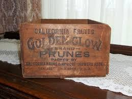 california fruits golden glow brand prunes crate advertising san
