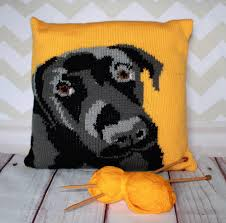 Knitted Cushion Cover Patterns Labrador Pet Portrait Cushion Cover Knitting Pattern Knitting