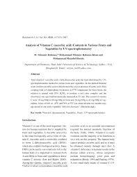 analysis of vitamin c ascorbic acid contents in various fruits