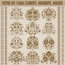 set of filigree damask ornaments floral golden elements borders