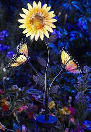 solar led stake lights solar powered butterfly and sunflower garden brighter white led