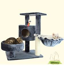 grey color cat scratching tree with hammock ddhouse singapore
