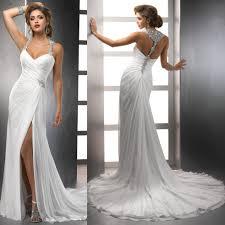 flowing wedding dresses 2014 design wholesale chiffon flowing halter neck slit