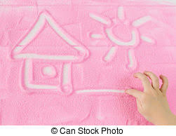 decorative sand painting a house on sand background stock photographs search photo