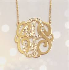 gold monogrammed necklace small 14k gold monogram necklace with diamond middle initial