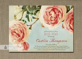 roses bridal shower invitation pink aqua blue rustic chic