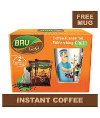 bru gold 100 pure coffee pouch 50 g x 2 free mug hevaya