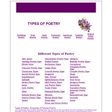 types of poetry pearltrees