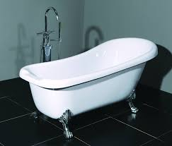 modern freestanding bathtub featuring white acrylic material