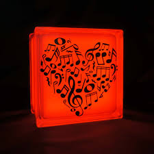 music note home decor pretty led glass block lamp with music note heart decal cool