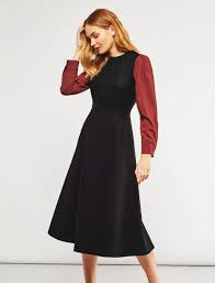 wool dress contrast sleeve wool midi dress black cefinn