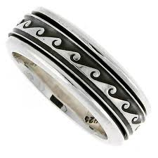 mens spinner rings sterling silver mens spinner ring wave design handmade 5 16 wide
