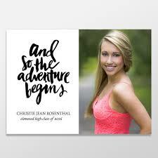 graduation announcements this quote and so the adventure begins senior graduation