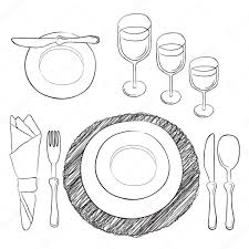 table setting white and clear tableware and eating utensils are