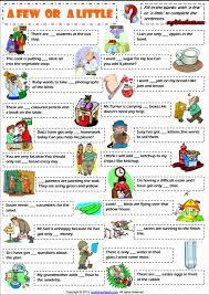 quantifiers a few and a little esl exercises worksheet esl
