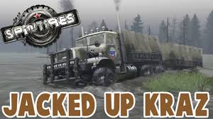 nissan titan jacked up spintires jacked up kraz spin tires kraz b1 mod youtube