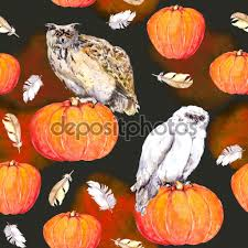 repeating background halloween owl on pumpkin halloween repeating pattern vintage watercolor