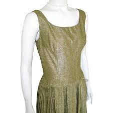 vintage 1960s shimmering party cocktail dress gold lurex drop