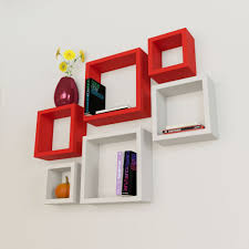 6 nesting square wall shelf rack unit red u0026 white