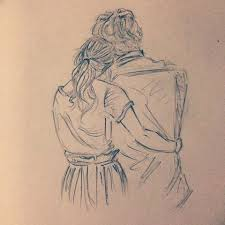 pictures cute pencil sketches of couples hugging drawing art