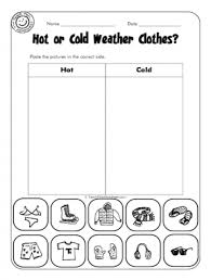 Kindergarten Weather Worksheets Or Cold Weather Clothes Escuela Worksheets