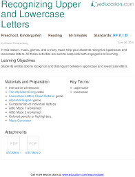matching letters lesson plan education com