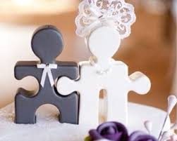 how fun are these puzzle piece cake toppers so clever maybe