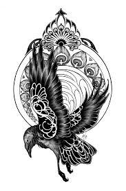 art nouveau raven tattoo by theumbrella on deviantart birds and
