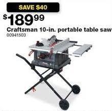 Craftsman Portable Table Saw Sears Black Friday Craftsman 10 In Portable Table Saw For 189 99
