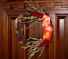 Cny Home Decor Wreath Accented With A Envelope As A Symbol Of Authentic